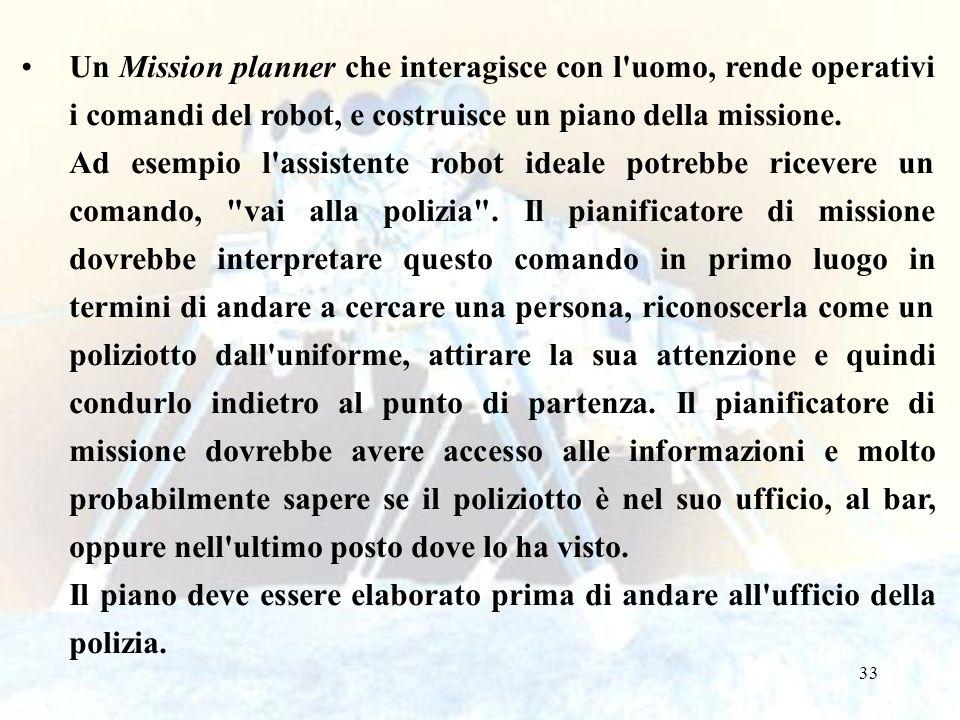 Un Mission planner che interagisce con l uomo, rende operativi i comandi del robot, e costruisce un piano della missione.