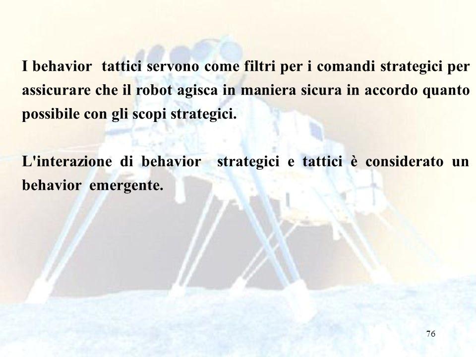 I behavior tattici servono come filtri per i comandi strategici per assicurare che il robot agisca in maniera sicura in accordo quanto possibile con gli scopi strategici.