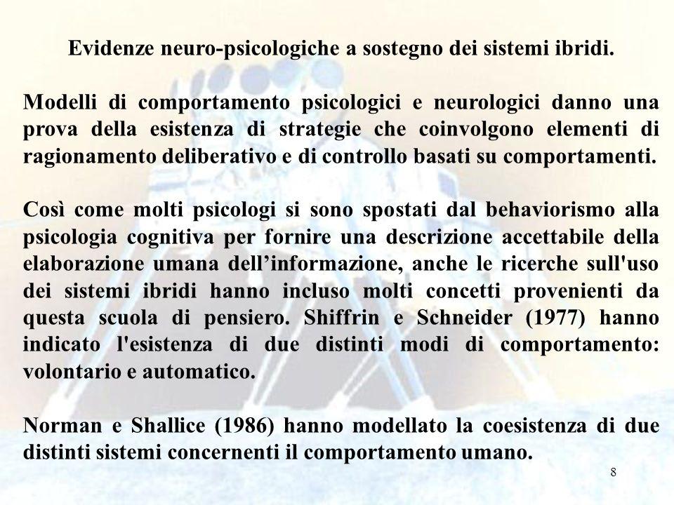Evidenze neuro-psicologiche a sostegno dei sistemi ibridi.
