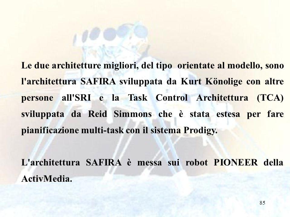 Le due architetture migliori, del tipo orientate al modello, sono l architettura SAFIRA sviluppata da Kurt Könolige con altre persone all SRI e la Task Control Architettura (TCA) sviluppata da Reid Simmons che è stata estesa per fare pianificazione multi-task con il sistema Prodigy.