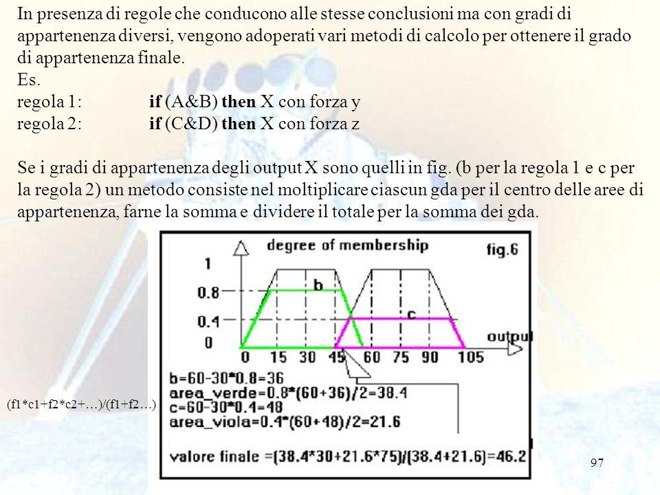 regola 1: if (A&B) then X con forza y