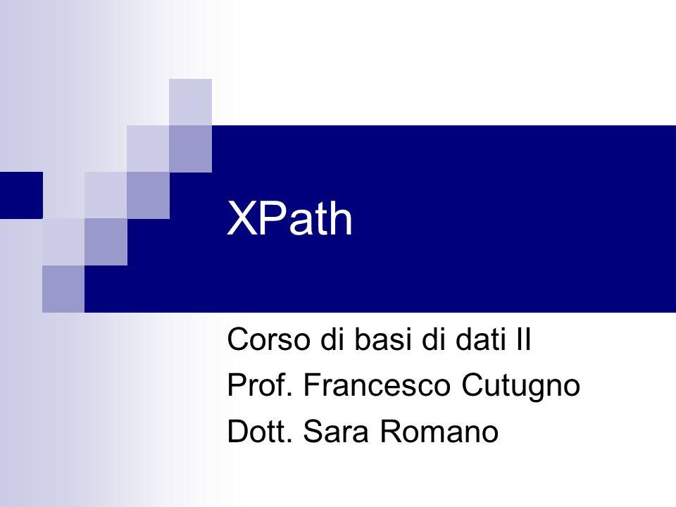 Corso di basi di dati II Prof. Francesco Cutugno Dott. Sara Romano