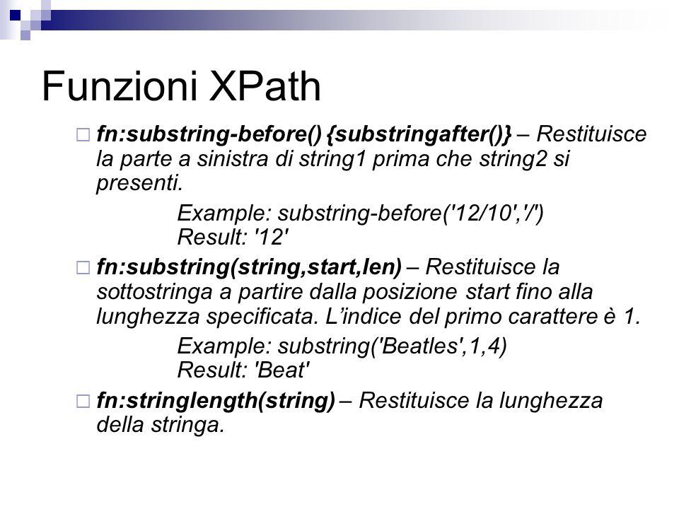 Funzioni XPath fn:substring-before() {substringafter()} – Restituisce la parte a sinistra di string1 prima che string2 si presenti.