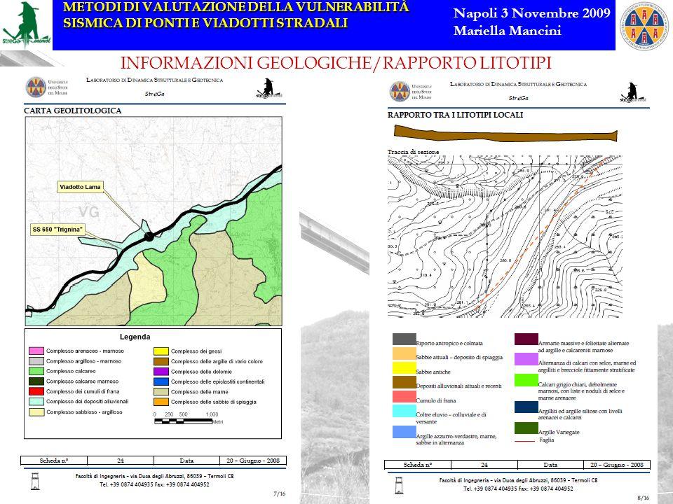 INFORMAZIONI GEOLOGICHE/RAPPORTO LITOTIPI
