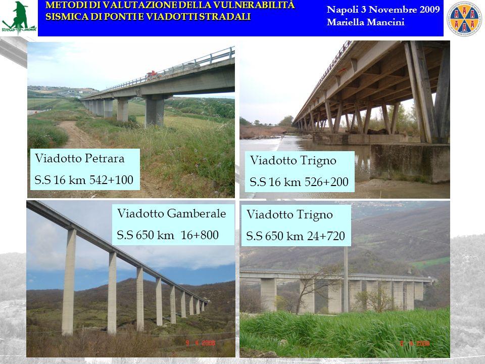 Viadotto Petrara S.S 16 km 542+100. Viadotto Trigno. S.S 16 km 526+200. Viadotto Gamberale. S.S 650 km 16+800.