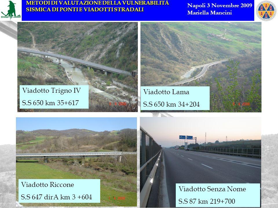 Viadotto Trigno IV S.S 650 km 35+617. Viadotto Lama. S.S 650 km 34+204. Viadotto Riccone. S.S 647 dirA km 3 +604.