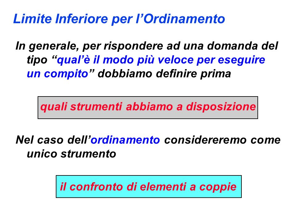 Limite Inferiore per l'Ordinamento