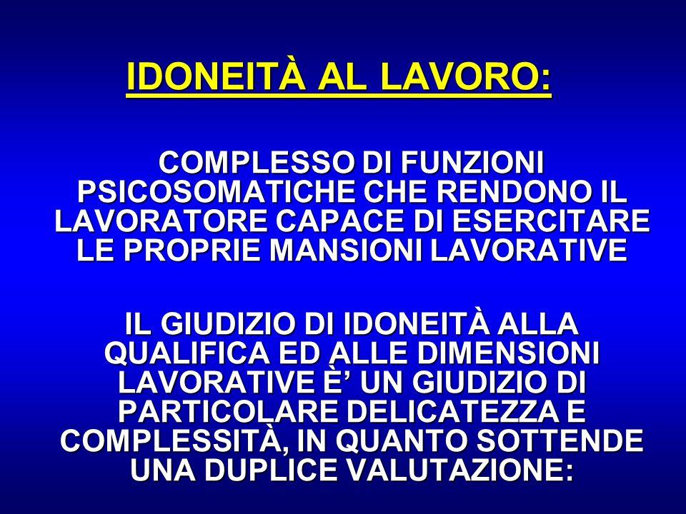 IDONEITÀ AL LAVORO: COMPLESSO DI FUNZIONI PSICOSOMATICHE CHE RENDONO IL LAVORATORE CAPACE DI ESERCITARE LE PROPRIE MANSIONI LAVORATIVE.