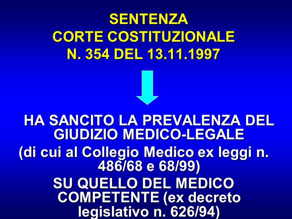 (di cui al Collegio Medico ex leggi n. 486/68 e 68/99)
