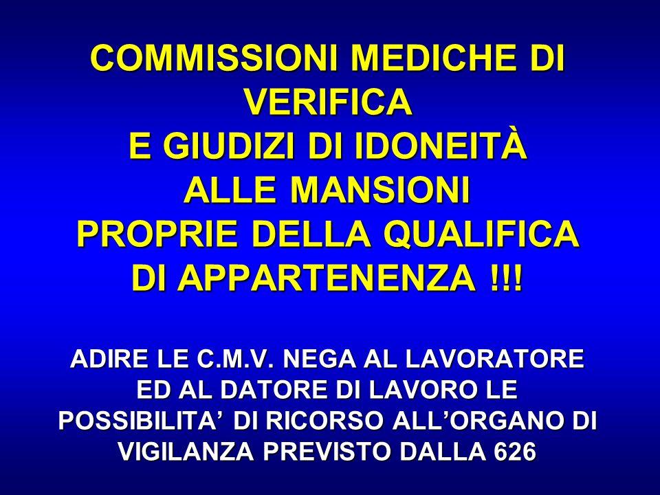 COMMISSIONI MEDICHE DI VERIFICA E GIUDIZI DI IDONEITÀ ALLE MANSIONI PROPRIE DELLA QUALIFICA DI APPARTENENZA !!! ADIRE LE C.M.V. NEGA AL LAVORATORE ED AL DATORE DI LAVORO LE POSSIBILITA' DI RICORSO ALL'ORGANO DI VIGILANZA PREVISTO DALLA 626