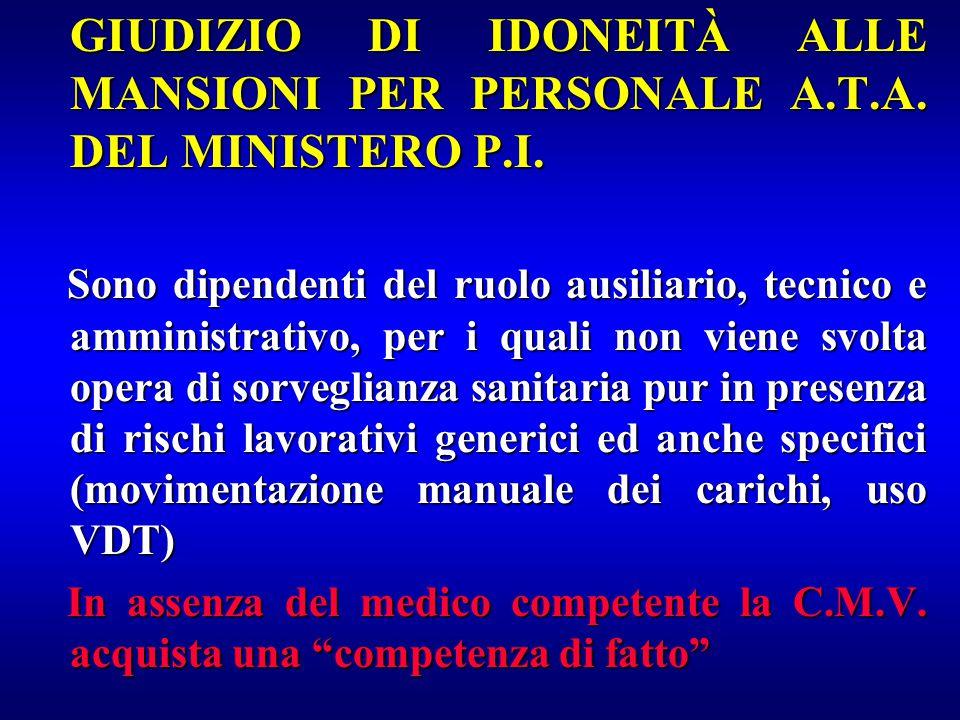 GIUDIZIO DI IDONEITÀ ALLE MANSIONI PER PERSONALE A. T. A