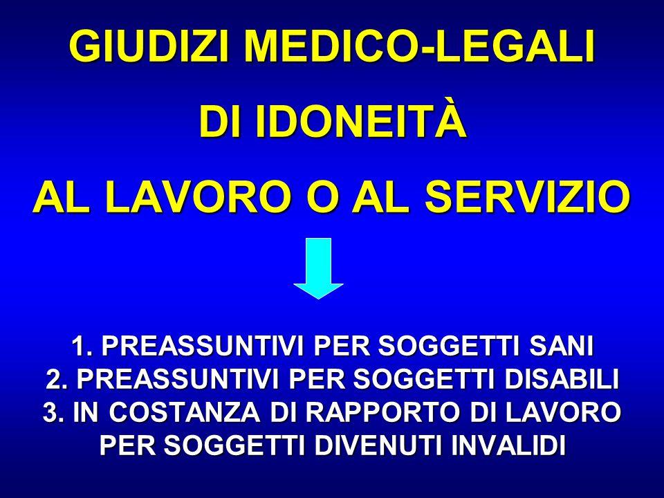 GIUDIZI MEDICO-LEGALI DI IDONEITÀ AL LAVORO O AL SERVIZIO 1