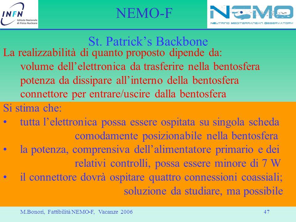 St. Patrick's Backbone La realizzabilità di quanto proposto dipende da: volume dell'elettronica da trasferire nella bentosfera.
