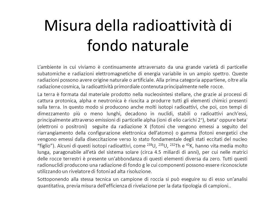 Misura della radioattività di fondo naturale