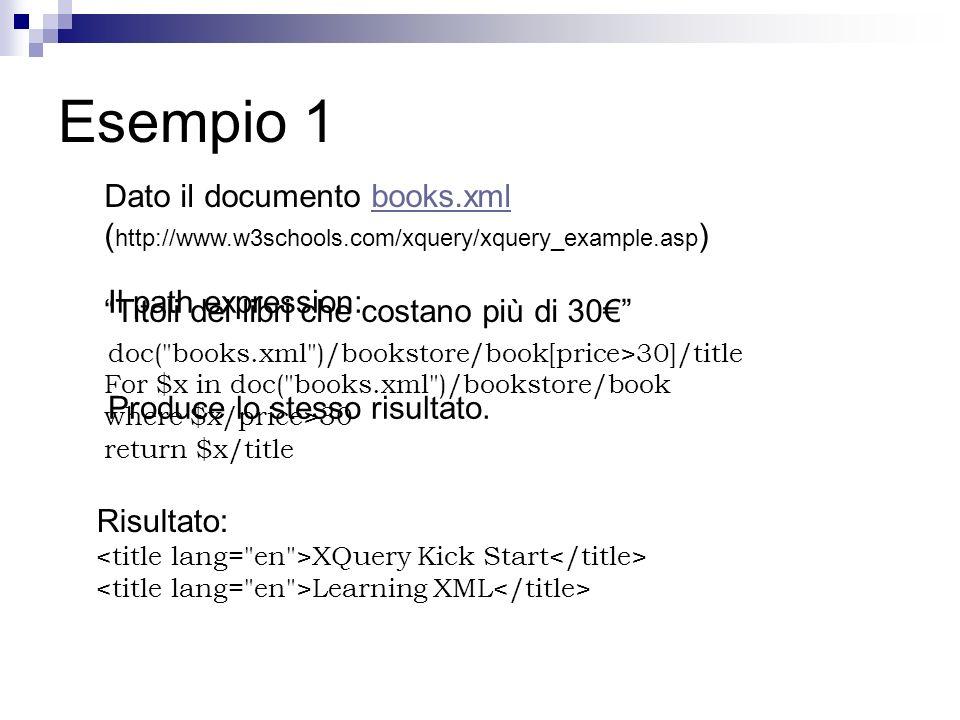 Esempio 1 Dato il documento books.xml (http://www.w3schools.com/xquery/xquery_example.asp) Titoli dei libri che costano più di 30€