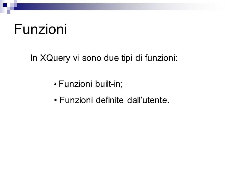 Funzioni In XQuery vi sono due tipi di funzioni: