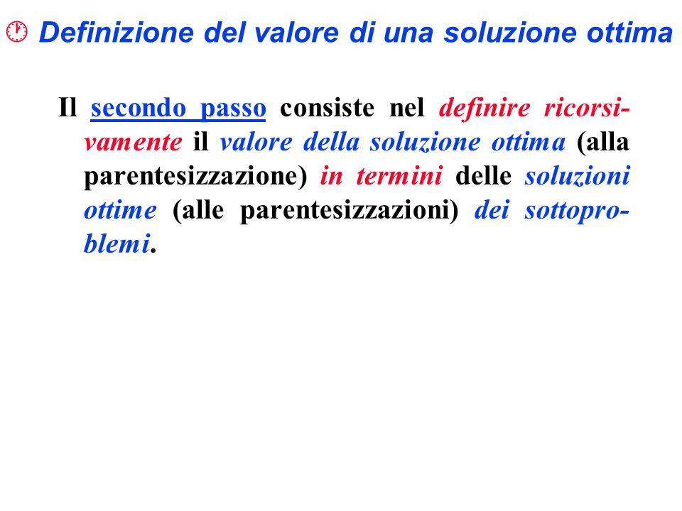  Definizione del valore di una soluzione ottima