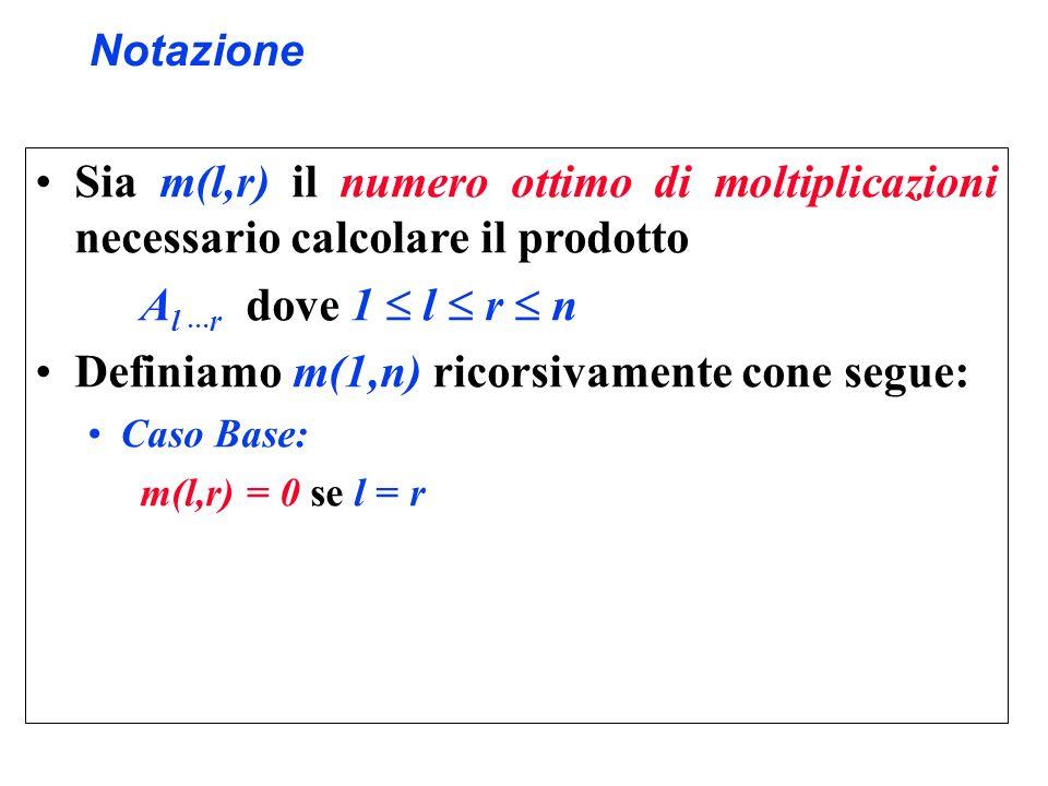 Definiamo m(1,n) ricorsivamente cone segue: