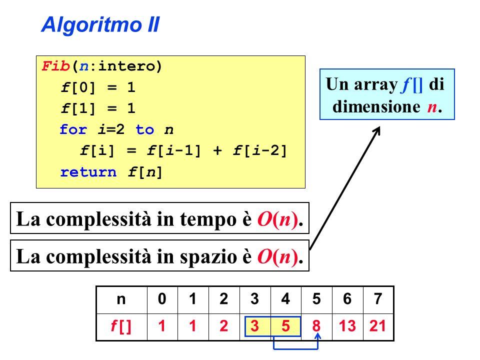 La complessità in spazio è O(n).