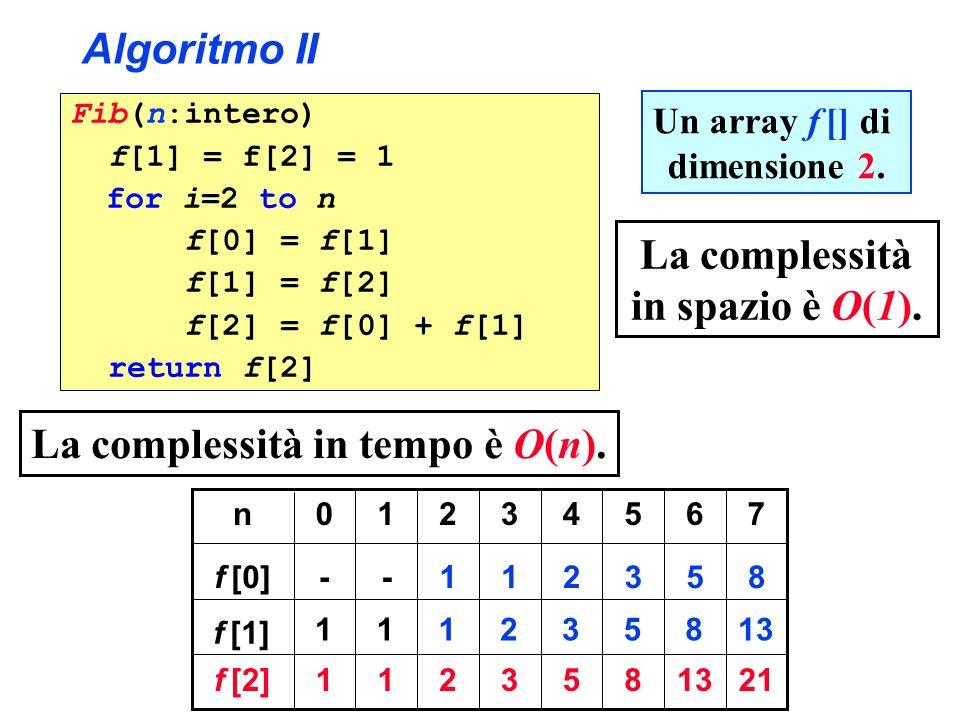 La complessità in spazio è O(1). La complessità in tempo è O(n).