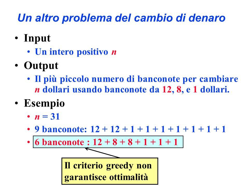 Un altro problema del cambio di denaro