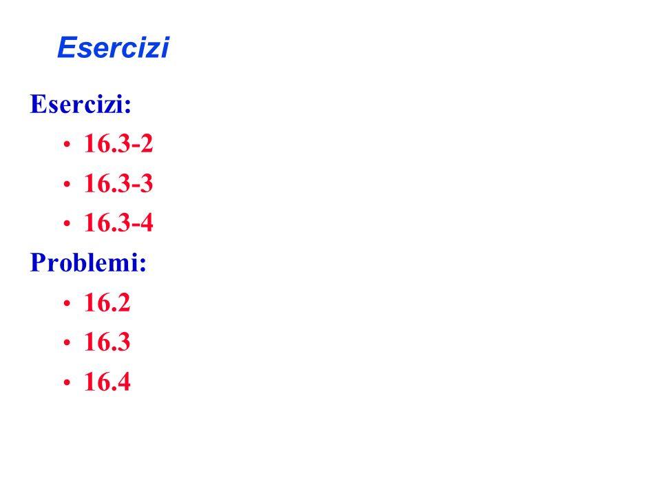 Esercizi Esercizi: 16.3-2 16.3-3 16.3-4 Problemi: 16.2 16.3 16.4
