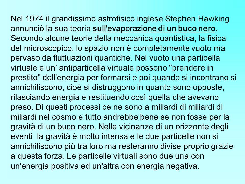 Nel 1974 il grandissimo astrofisico inglese Stephen Hawking annunciò la sua teoria sull evaporazione di un buco nero.