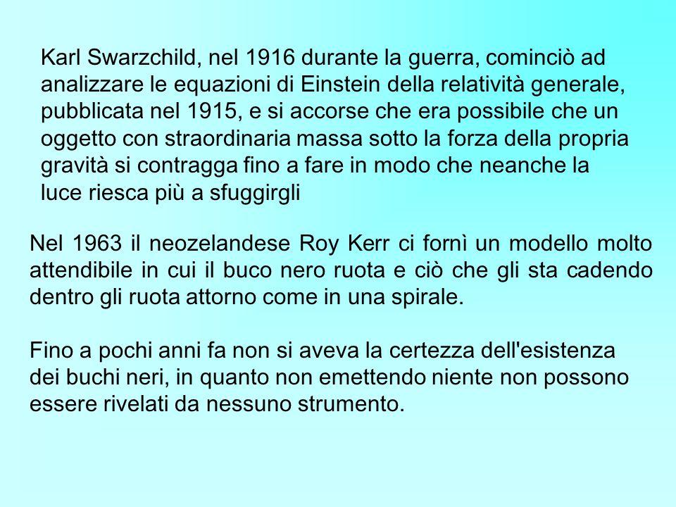 Karl Swarzchild, nel 1916 durante la guerra, cominciò ad analizzare le equazioni di Einstein della relatività generale, pubblicata nel 1915, e si accorse che era possibile che un oggetto con straordinaria massa sotto la forza della propria gravità si contragga fino a fare in modo che neanche la luce riesca più a sfuggirgli