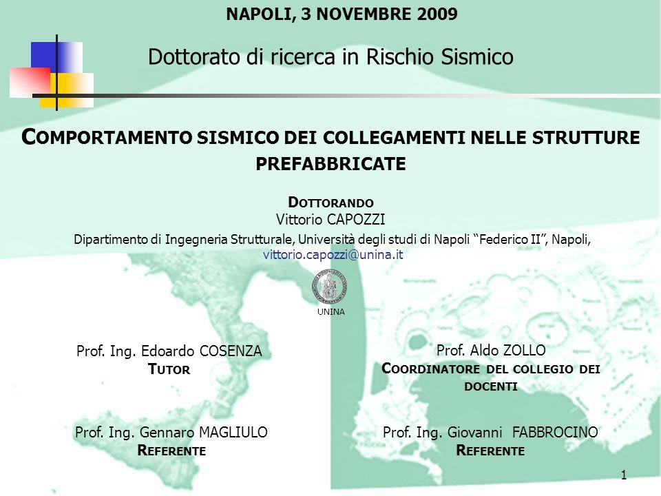 Comportamento sismico dei collegamenti nelle strutture prefabbricate
