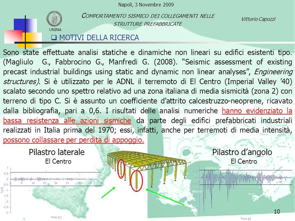 Pilastro laterale Pilastro d'angolo MOTIVI DELLA RICERCA