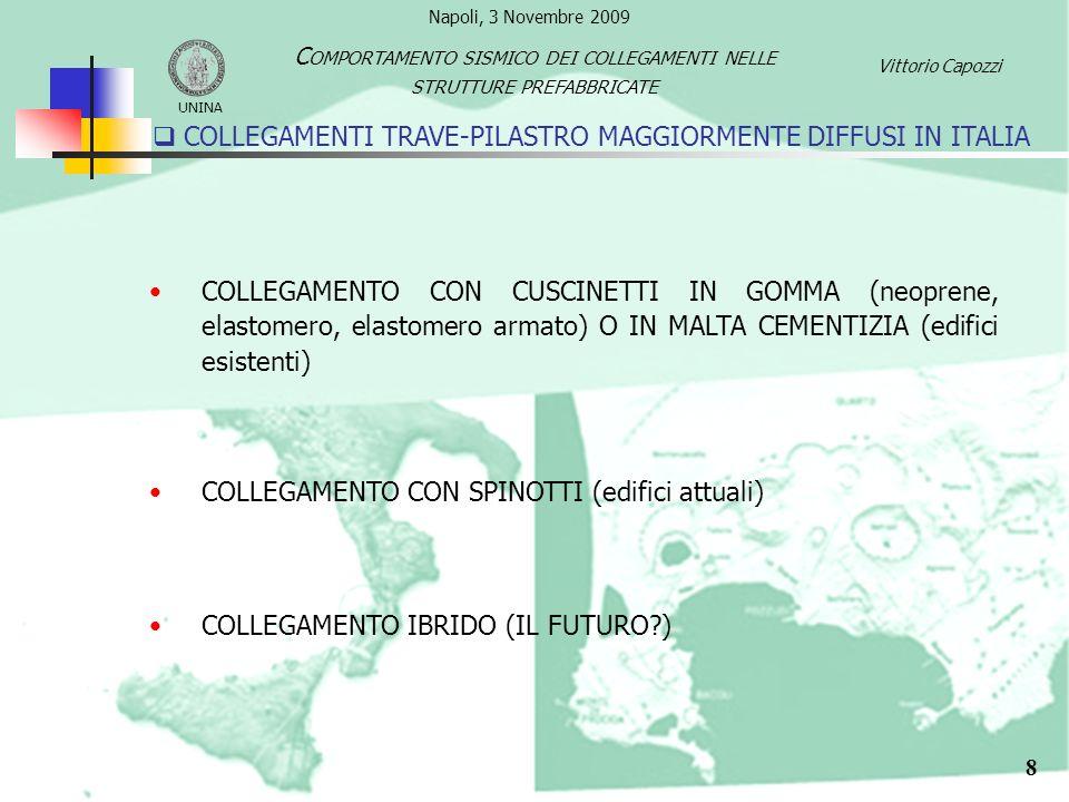 COLLEGAMENTI TRAVE-PILASTRO MAGGIORMENTE DIFFUSI IN ITALIA