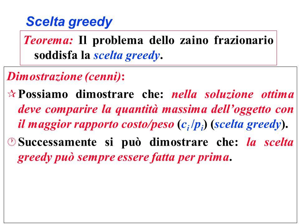 Scelta greedy Teorema: Il problema dello zaino frazionario soddisfa la scelta greedy. Dimostrazione (cenni):