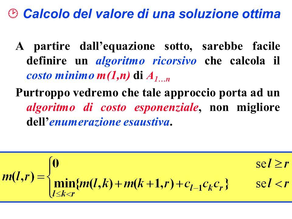  Calcolo del valore di una soluzione ottima