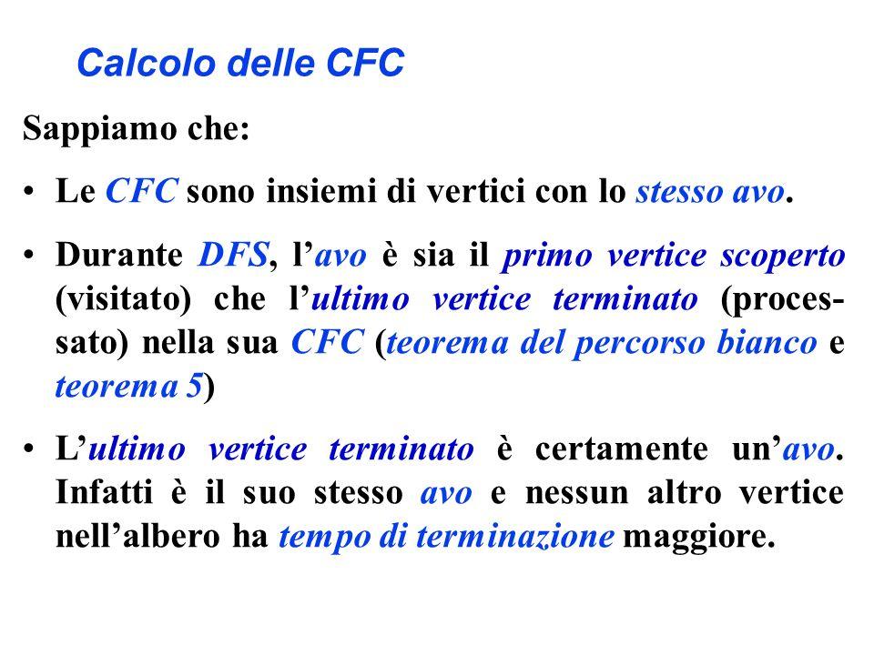 Calcolo delle CFC Sappiamo che: