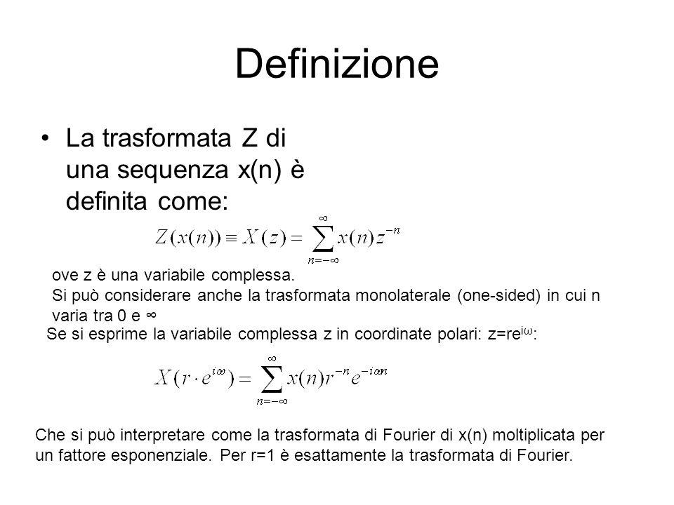 Definizione La trasformata Z di una sequenza x(n) è definita come:
