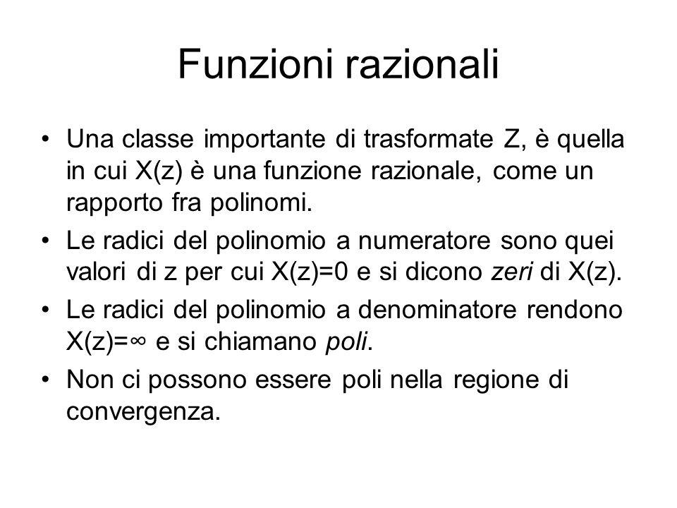 Funzioni razionali Una classe importante di trasformate Z, è quella in cui X(z) è una funzione razionale, come un rapporto fra polinomi.