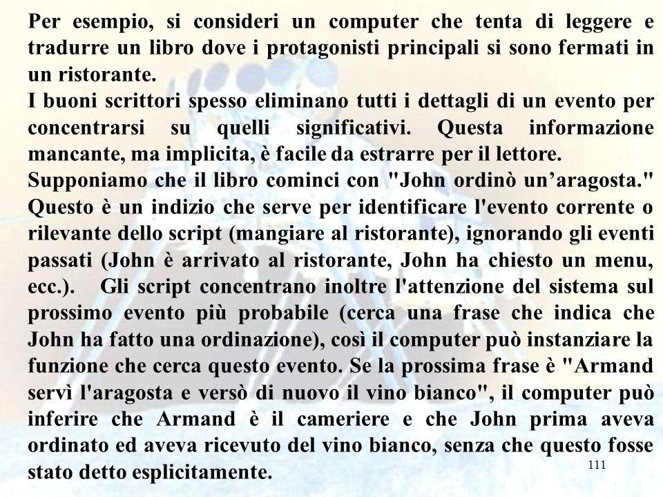 Per esempio, si consideri un computer che tenta di leggere e tradurre un libro dove i protagonisti principali si sono fermati in un ristorante.