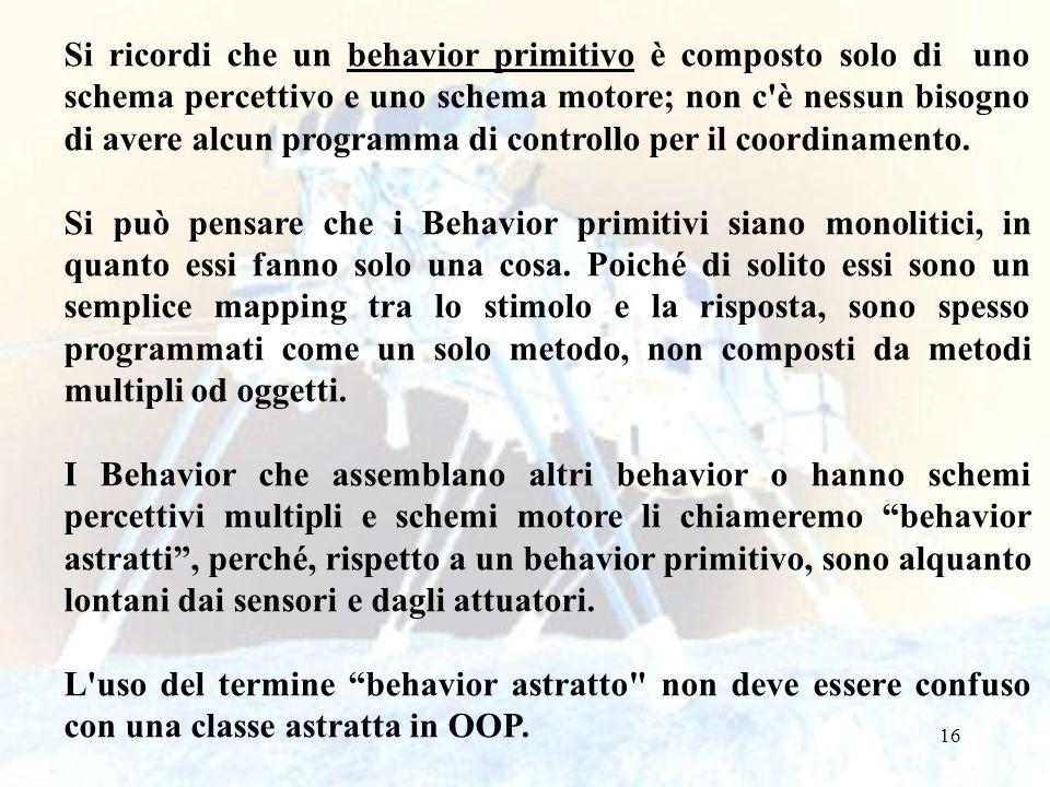 Si ricordi che un behavior primitivo è composto solo di uno schema percettivo e uno schema motore; non c è nessun bisogno di avere alcun programma di controllo per il coordinamento.