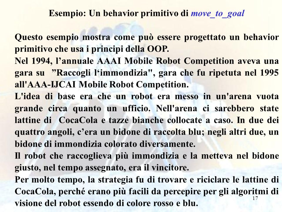 Esempio: Un behavior primitivo di move_to_goal