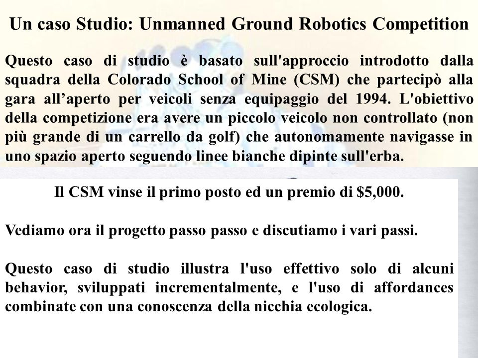 Un caso Studio: Unmanned Ground Robotics Competition