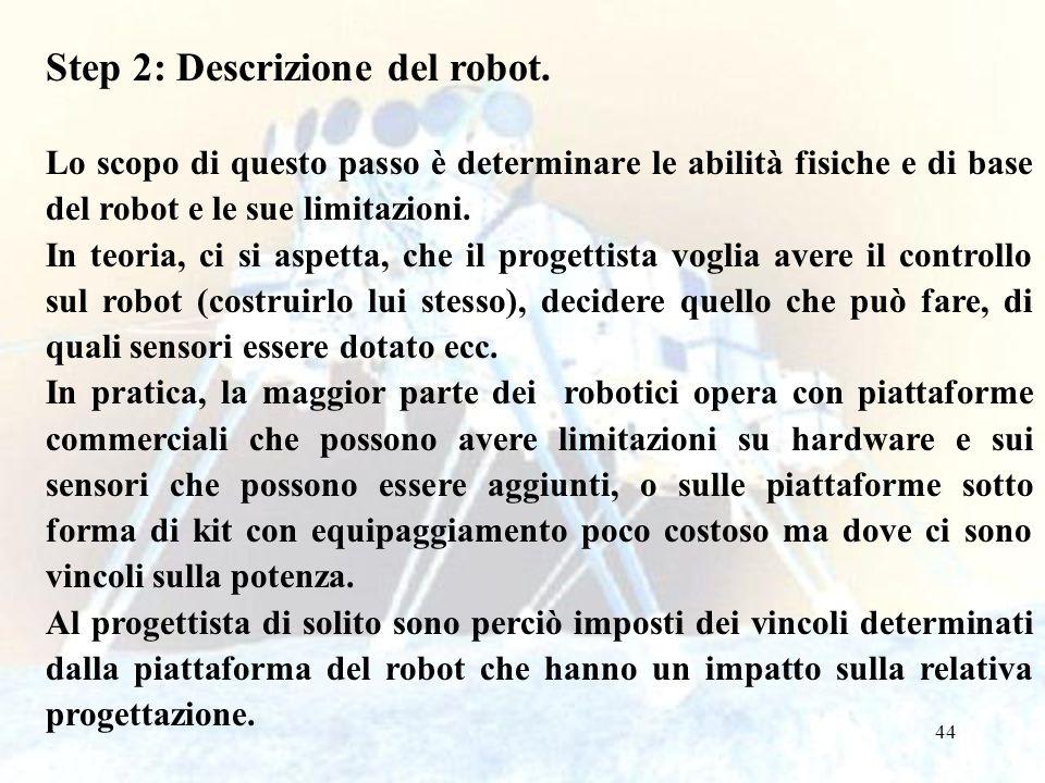 Step 2: Descrizione del robot.
