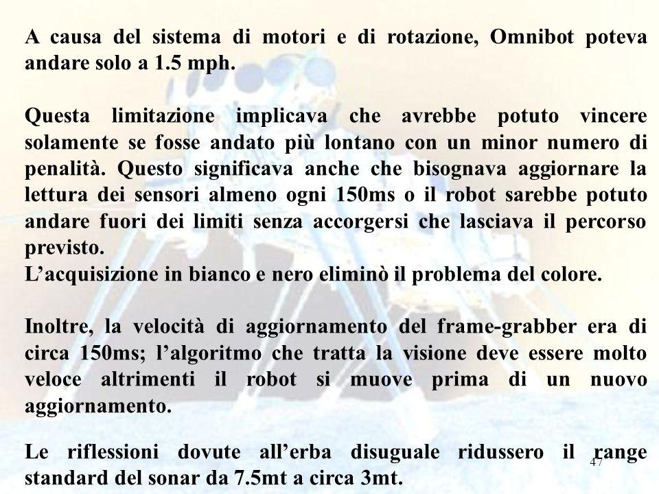 A causa del sistema di motori e di rotazione, Omnibot poteva andare solo a 1.5 mph.