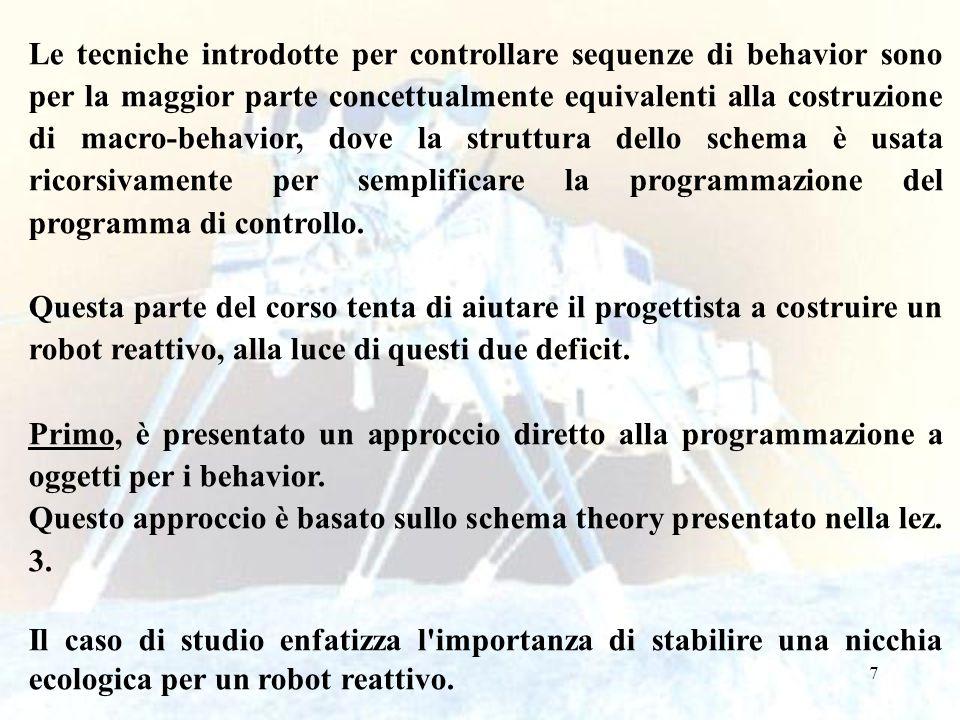 Le tecniche introdotte per controllare sequenze di behavior sono per la maggior parte concettualmente equivalenti alla costruzione di macro-behavior, dove la struttura dello schema è usata ricorsivamente per semplificare la programmazione del programma di controllo.