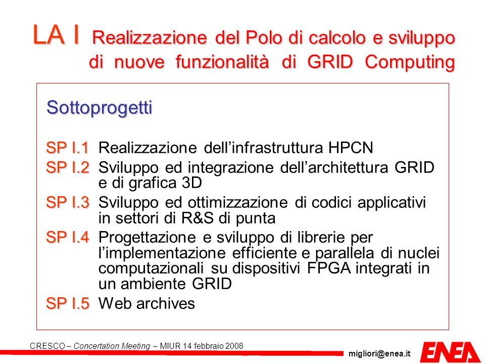 LA I Realizzazione del Polo di calcolo e sviluppo di nuove funzionalità di GRID Computing
