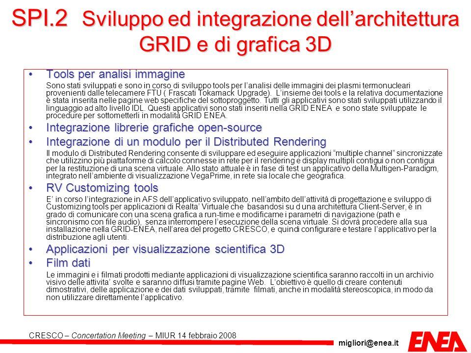 SPI.2 Sviluppo ed integrazione dell'architettura GRID e di grafica 3D