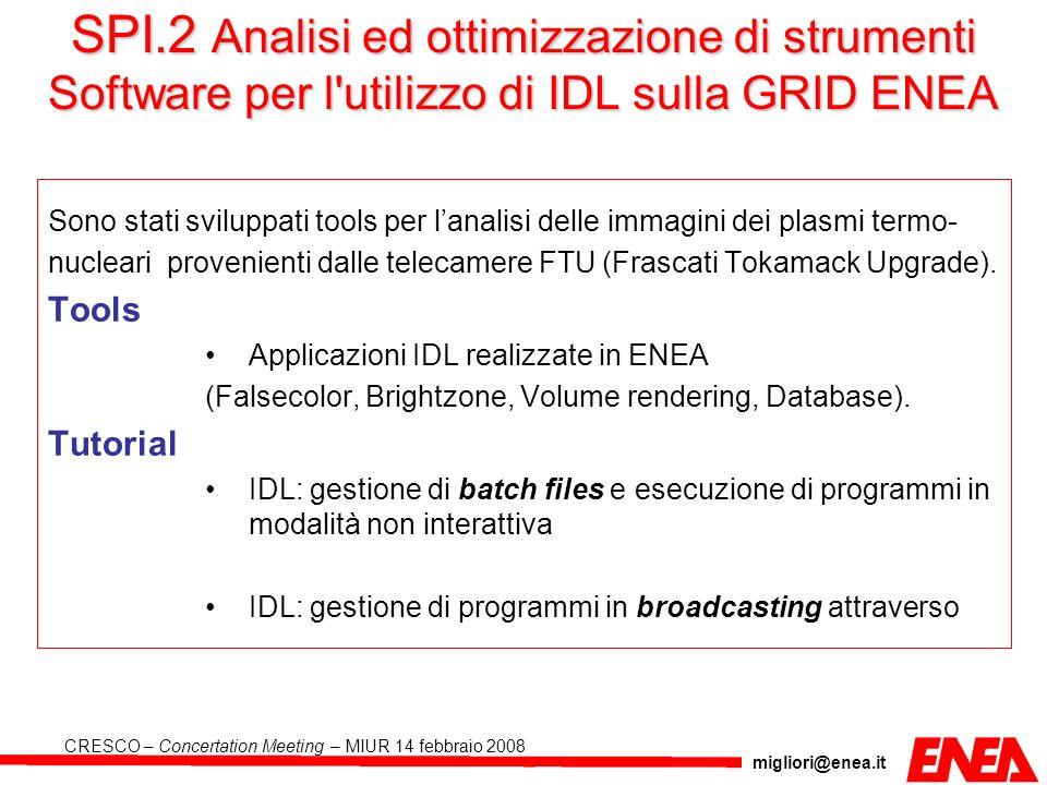 SPI.2 Analisi ed ottimizzazione di strumenti Software per l utilizzo di IDL sulla GRID ENEA