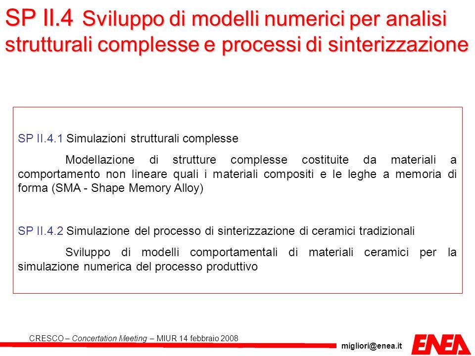 SP II.4 Sviluppo di modelli numerici per analisi strutturali complesse e processi di sinterizzazione