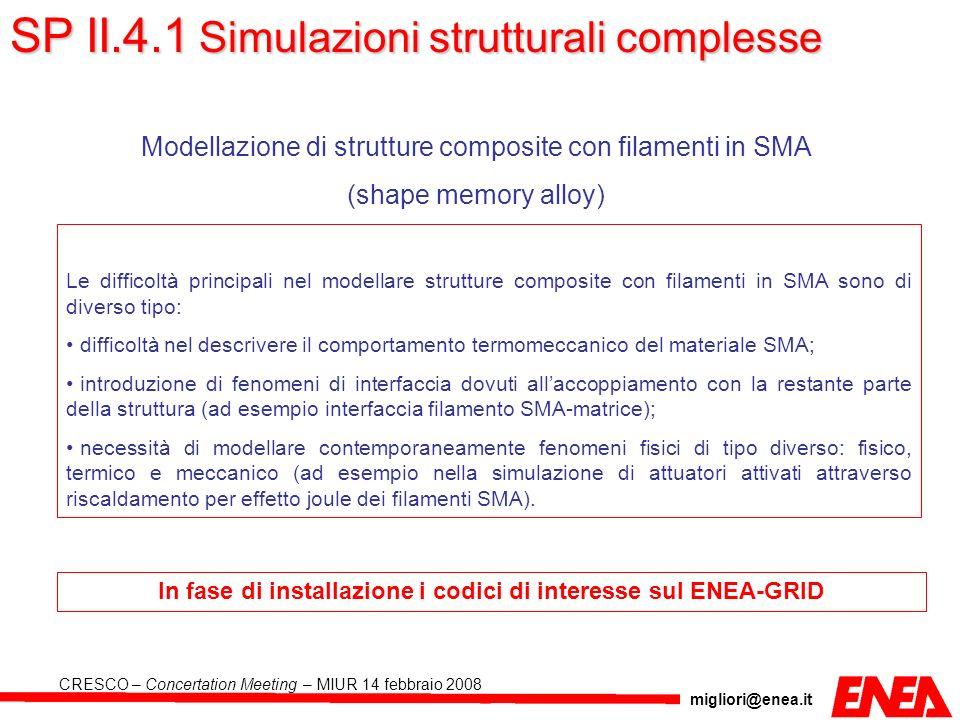 In fase di installazione i codici di interesse sul ENEA-GRID