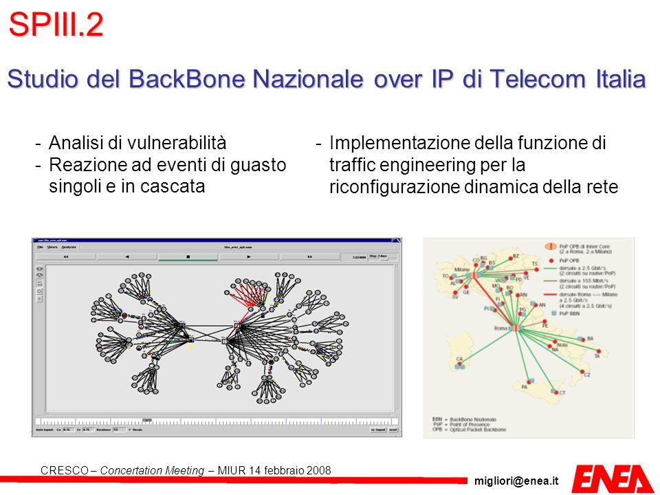 SPIII.2 Studio del BackBone Nazionale over IP di Telecom Italia