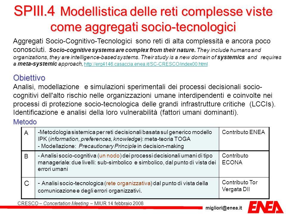 SPIII.4 Modellistica delle reti complesse viste come aggregati socio-tecnologici